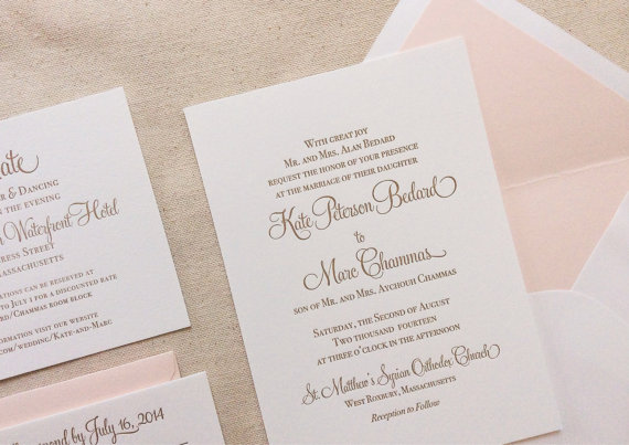 Mariage - The Hydrangea Suite - Classic Letterpress Wedding Invitation Suite Gold with Blush Liner, Pink, Blush, Gold, Formal, Simple, Traditional
