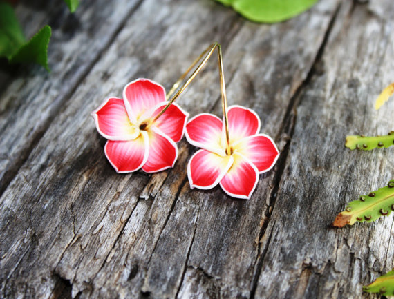 Flower Earrings Hawaiian Jewelry Hawaii Frangipani Plumeria Wedding Bridesmaid Bridal Mom Gift 024