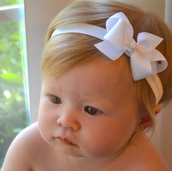 White baby bow headband christmas baptism wedding baby hair bows