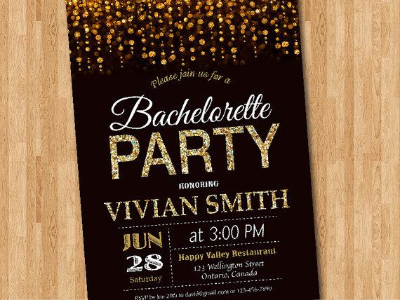 Bachelorette Party Invitation Gold Glitter Bachelorette Invite – Digital Party Invitations