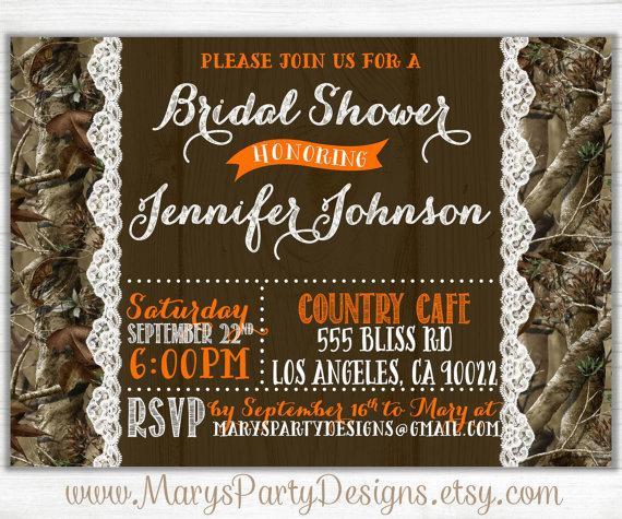 زفاف - Camo Bridal Shower Invitation - Lace Wedding Hunting Camouflage Invites Wood Coed - DIY Printable Digital PDF JPEG
