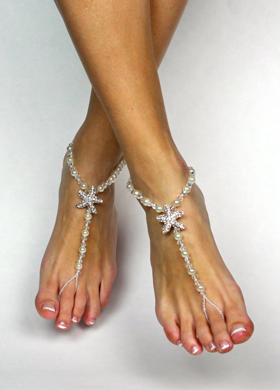 Свадьба - Starfish Barefoot Sandals Beach Wedding Sandals Foot Jewelry Starfish Foot Thong Barefoot Sandles Bridesmaids Gift Destination Wedding Shoes