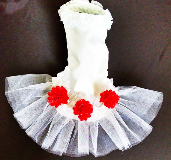 Свадьба - Dog tutu Wedding satin white with organza and satin ruffle and white tulle Bridal photo prop  best friend in wedding
