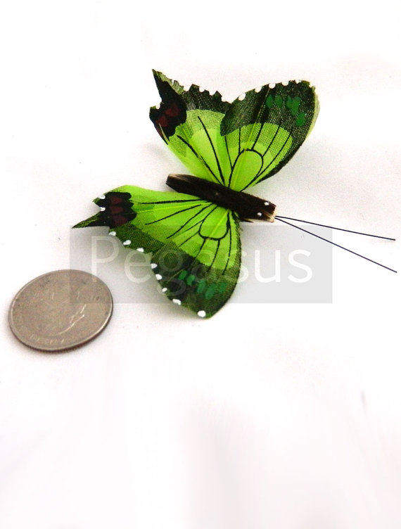 Mariage - Green Tiger Swallow Tail Butterfly  (2 Pieces)(2 inches)  for bridal accessories, party favors, girls hair clips and scrapbooking