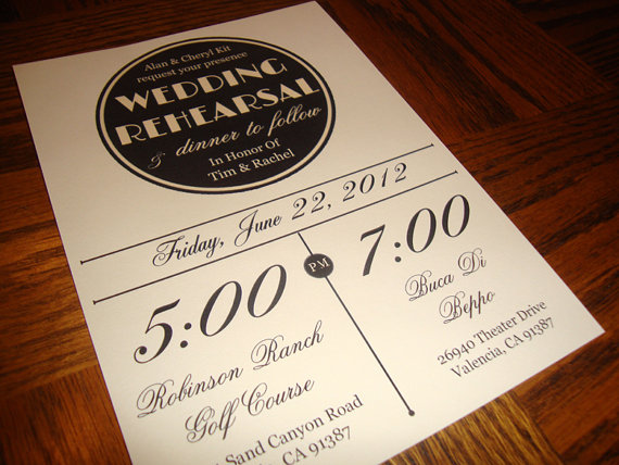 Custom Printable Vintage Wedding Rehearsal Dinner Invitation Digital File