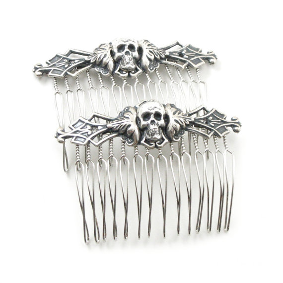 Wedding - Necromance Hair Combs - Sexy Macabre Gothic Hair Pieces with Antiqued Sterling Silver Plated Skull Heads - by Ghostlove