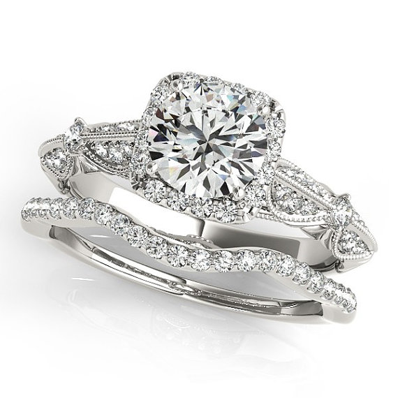 Wedding - 1 ct Forever Brilliant Moissanite Solid 14K White Gold Diamond Engagement Ring - OV61985
