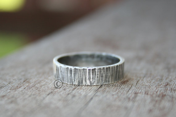 Mariage - Sterling Silver Tree Bark Textured Ring Band - Wood Grain - Wedding Ring Band - Rustic Jewelry