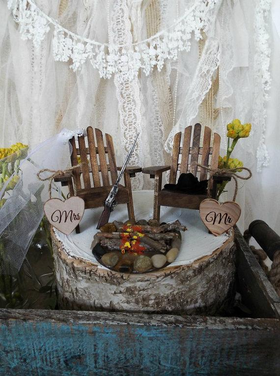 Miniature Chair Lake House Shot Gun Campfire Camping Hunting Wedding Cake Topper Bride And Groom