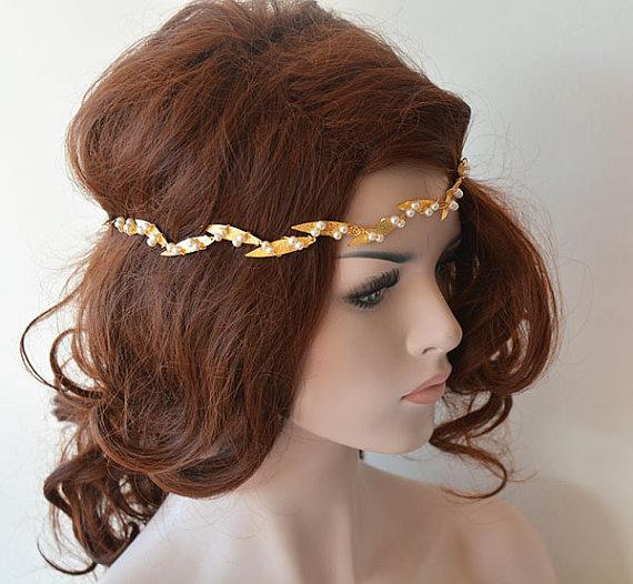 Wedding - Bridal Crown, Leaf crown, wedding headband, Gold Bridal Headband, Wedding Crown, Bridal Hair Accessory, Wedding hair Accessory