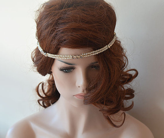 Nozze - Pearl and Rhinestone Headband, Wedding Headband, Wedding Accessories, Bridal Hair Accessory, Headbands for Women