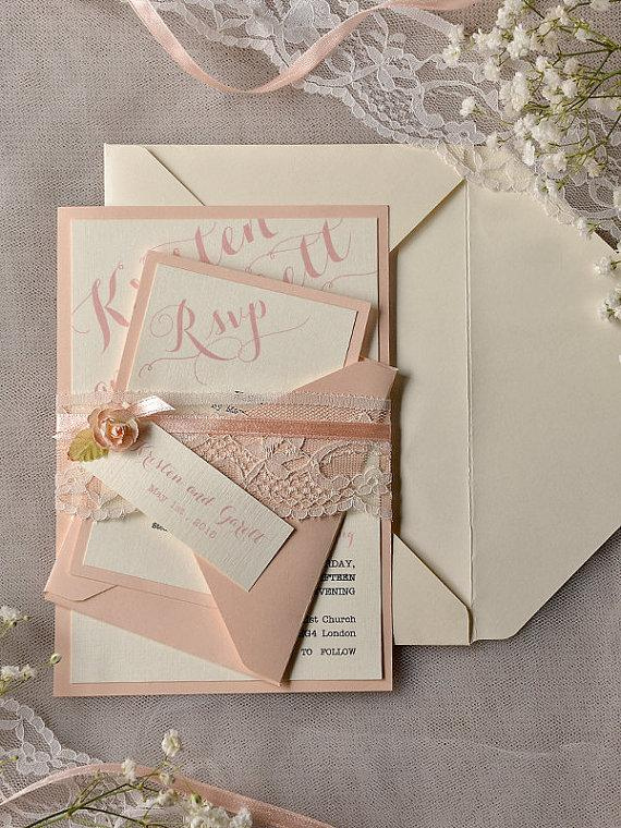 custom listing 20 ivory peach wedding invitation vintage lace wedding invitations rustic wedding invitation lace belly band - Wedding Invitations Vintage