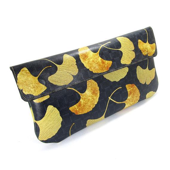 Mariage - Leather Clutch Bag, Wedding clutch, Bridesmaid clutch, Evening Bag - Golden Ginkgo leaf (Exclusive range)