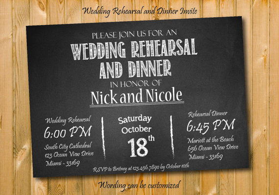 Who Do You Invite To Wedding Rehearsal Dinner: Chalkboard Wedding Rehearsal And Invite, Printables