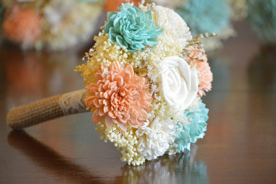 0f8b95c956d61 Small Wedding Bouquet Ivory, Soft Mint Blue And Lt. Coral Peach Sola ...