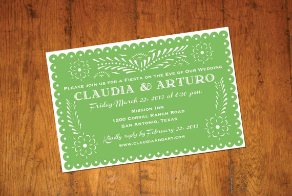 green talavera invitation papel picado banner fiesta wedding