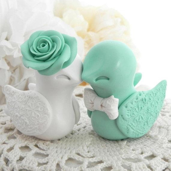 Wedding Cake Topper Love Birds Mint Green And White Bride Groom Keepsake