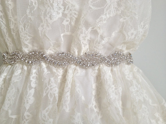 Mariage - USA SELLER - Bridal crystal sash, rhinestone sash, wedding beaded sash, wedding belt, bridesmaid gift, bridesmaid sash, jeweled sash