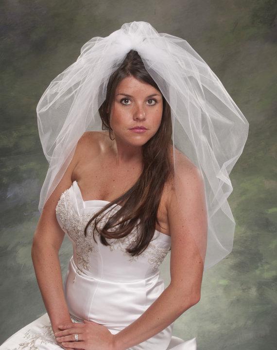 Свадьба - Waist Length Bridal Veil 1 Layer Bubble Veil 36 Inch 1 Tier Wedding Veil Ivory Tulle Veils Diamond White Veils Tull Veils