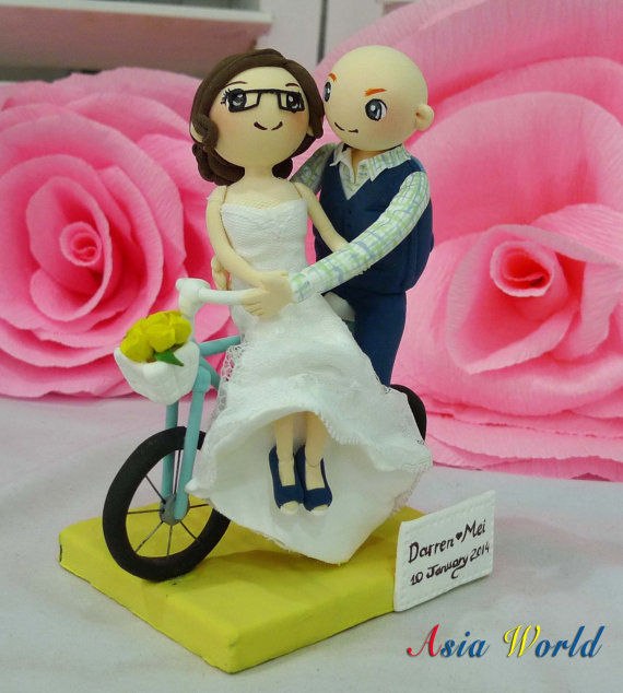 Wedding Cake Topper Bicycle Wedding With Lace Strapless