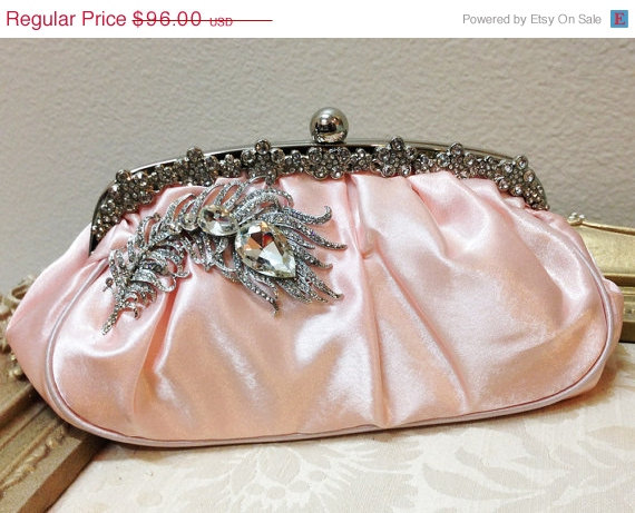 Hochzeit - Bridal clutch, pink wedding clutch, Crystal clutch, vintage inspired evening bag, Pink clutch, bridal bag