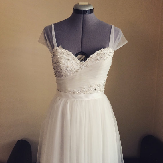 Wedding - Perfect soft white tulle and lace wedding dress-illusion straps with sweetheart neckline-made to order