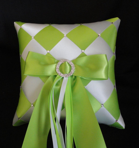 Свадьба - Wedding Ring Bearer Pillow, Lime Green White or Custom Made to your Colors Ribbon Weave with Swarovski Crystals, Wedding Accessories