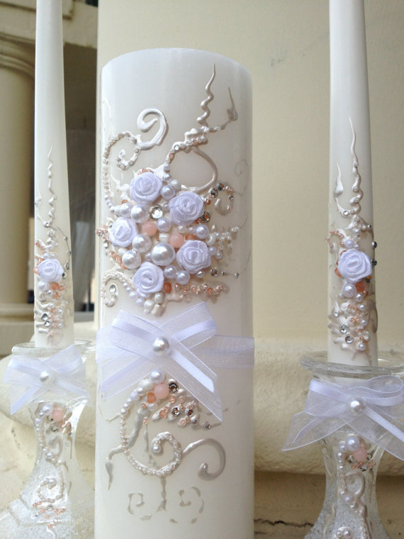 Hochzeit - Beautiful wedding unity candle set in white and blush pink with a silver crystals, perfect for your unity ceremony