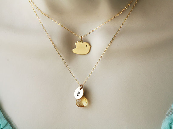 Hochzeit - Bird necklace,Custom birthstone and initial,double layer,birthday,Gold Necklace,wedding jewelry,mother jewelry
