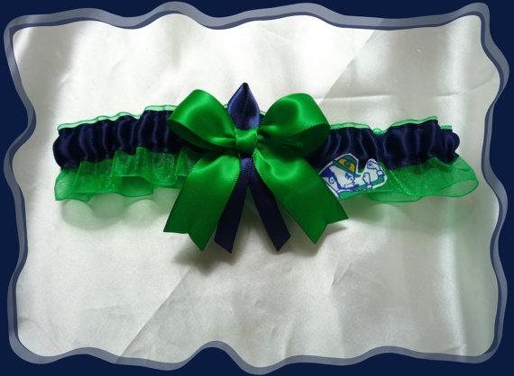 7bbfa7d87e47 Green Organza Wedding Garter Toss Made with Notre Dame Fabric Green Bow