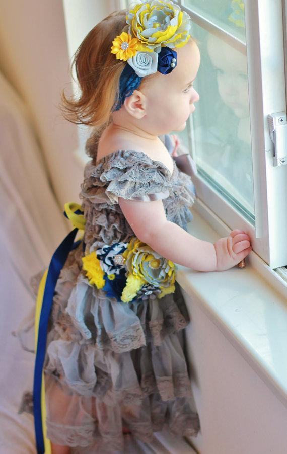 Grey Lace Dress Sash And Headband Set 0f0079132