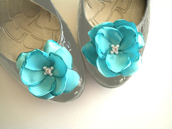 Mariage - Shoe Clips Tiffany Blue Satin Flowers with Rhinestone Center Handmade customize your color