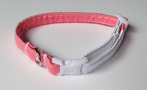 زفاف - Coral Pink and White Wedding Collar for Girl Dogs and Cats