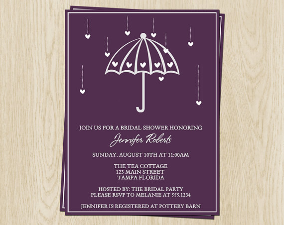 زفاف - Bridal Shower Invitations, Wedding, Purple Umbrella with Hearts, Set of 10 Printed Cards, FREE Shipping, SHWLL, Shower Her with Love, Plum