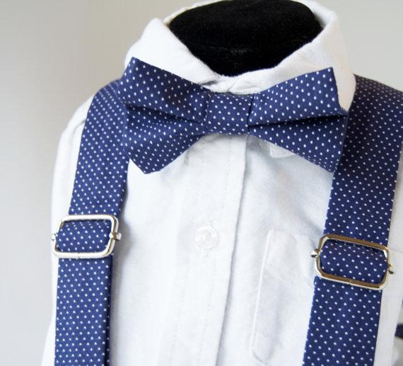 زفاف - Navy Polka Dot Bow Tie & Suspenders Set -  Blue Pin Dot - Baby Toddler Child Boys - Wedding