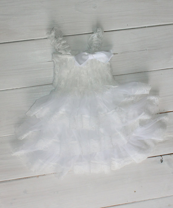 Hochzeit - White Rustic Lace Chiffon Dress ....Flower Girl Dress, Wedding Dress, Baptism Dress  (Infant, Toddler, Child)