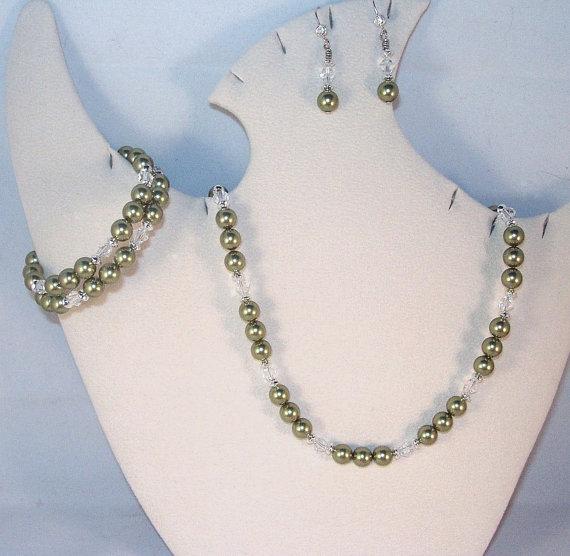 زفاف - Swarovski Pearl Jewelry - 3 Piece Set - Any Color