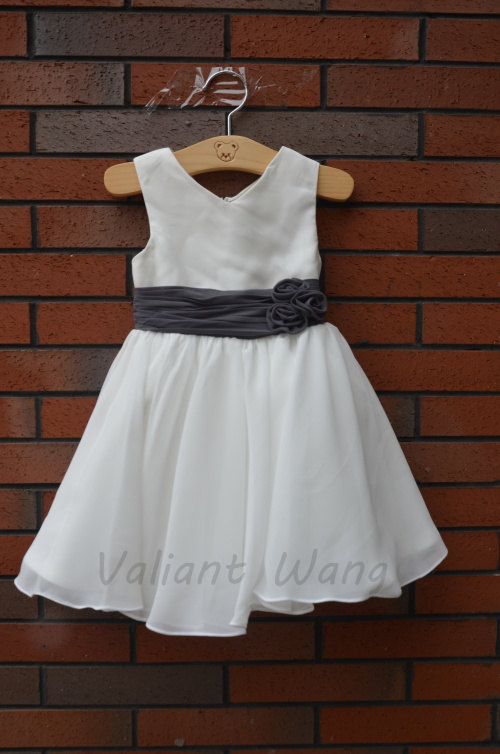 Свадьба - Lovely Ivory Chiffon Flower Girl Dress With Grey Sash/Flowers Knee Length
