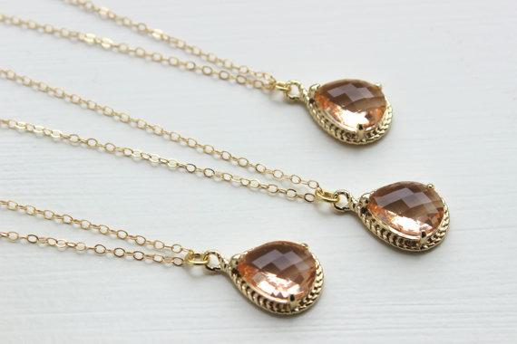 زفاف - 10% OFF SET OF 4 Champagne Blush Necklace Gold Wedding Jewelry Peach Necklaces Bridesmaid Gift Bridesmaid Jewelry Pink Peach Bridal Jewelry