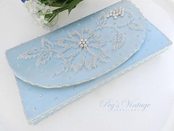 زفاف - Bridal/Wedding Powder Blue Satin Clutch/Purse, Seed Bead/Pearl Clutch/Purse, Hong Kong Vintage Fashion Purse