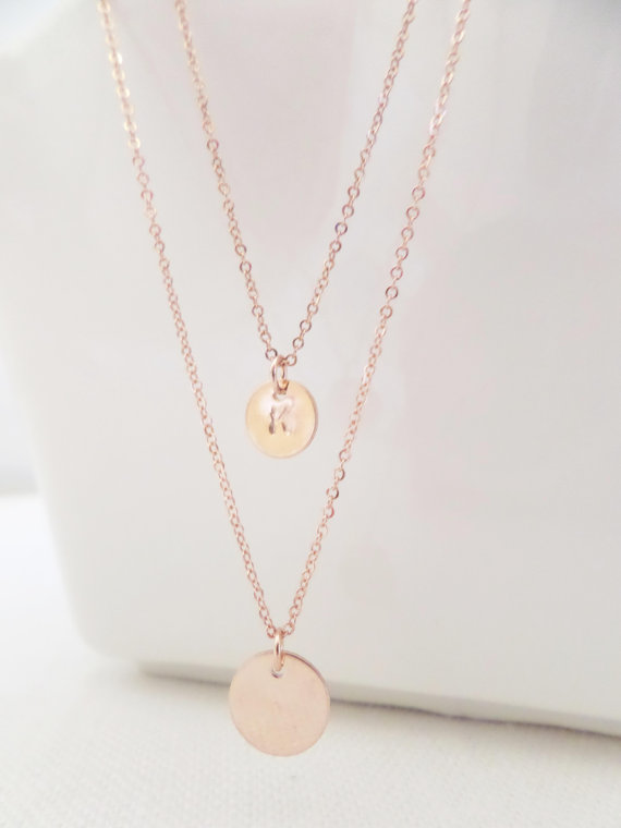 Mariage - Two Rose gold disks with initial necklace, double strand inital necklace---dainty, simple, birthday, wedding, bridesmaid jewelry