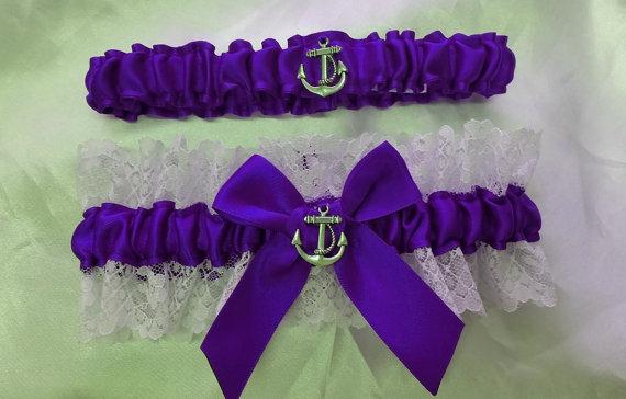 زفاف - Wedding Garter SET , beautiful  purple and white or ivory Nautical themed garter set