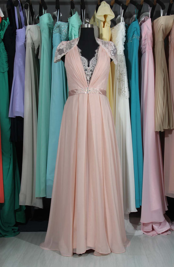 Pearl Pink Lace Chiffon Wedding Dress, V-neck See Through Back ...