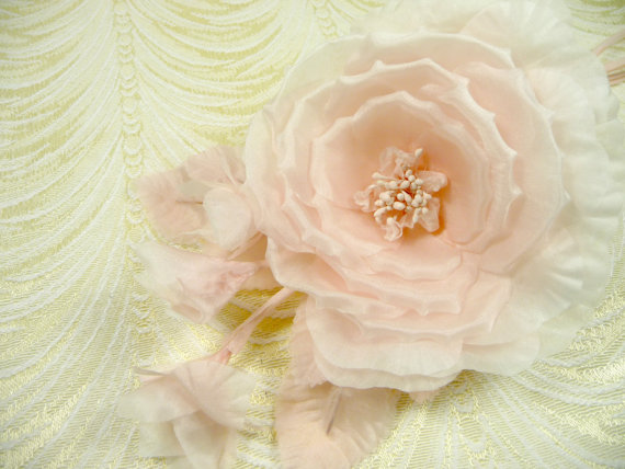Wedding - Lovely Silk Blossom with Buds Spray Pale Pink Ruffled Petals Bouquet Corsage for Weddings Hats Gowns Sash Fascinators
