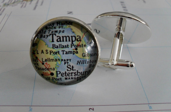 Wedding - TAMPA Florida Map Silver CUFF LINKS // Father's Day // groomsmen gift // gift for him // map cufflinks // Map jewelry // Gift Boxed