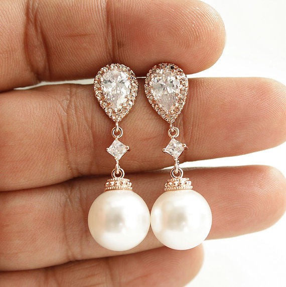 Pearl Rose Gold Earrings Wedding Jewelry Cubic Zirconia Drop Bridal White Or Cream Round Swarovski