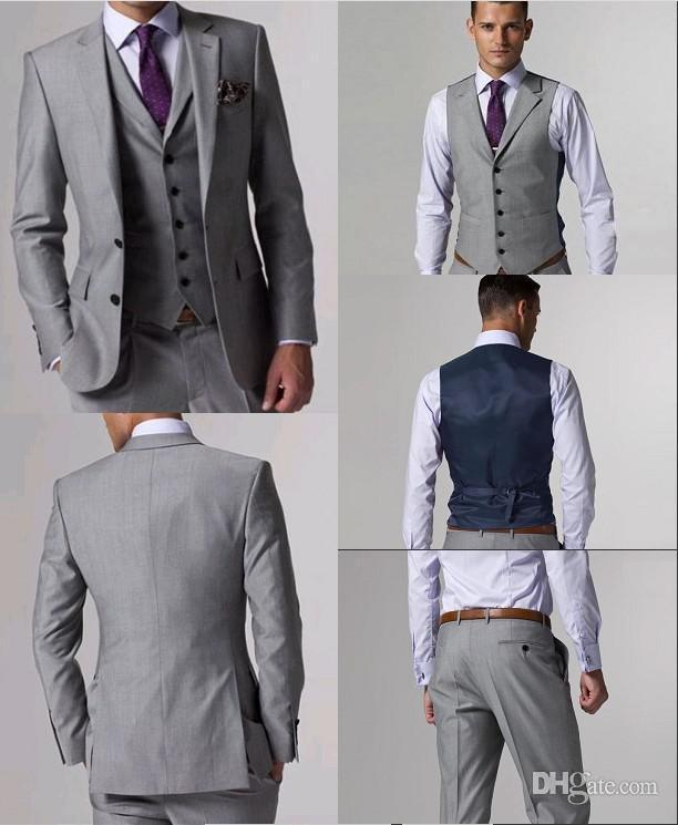 100% High Quality Slim Fit Groom Tuxedos Light Grey Side Slit ...