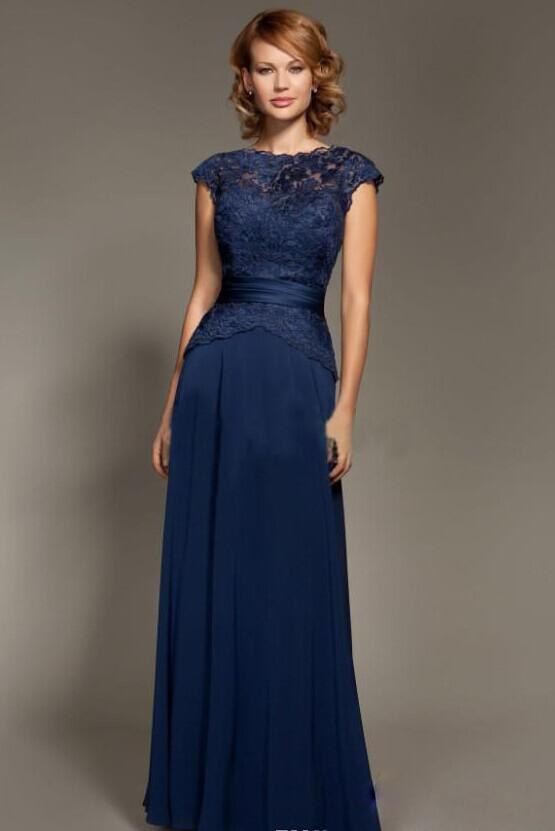22927c0d100b 2014 -2015 Elegant Dark Blue Sheer Lace Scoop Neckline Chiffon Cap Sleeves  Sheath Mother Of The Bride Dresses Floor-Length Mommy Dresses Online with  ...