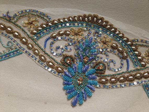 Hochzeit - Couture Veil - Art Deco Veil Blues