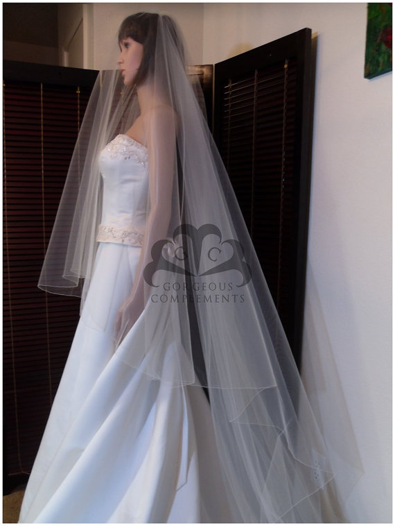 Свадьба - Wedding Veil Gorgeous Cathedral Drop Bridal Veil Pencil Edge DV36/120PE
